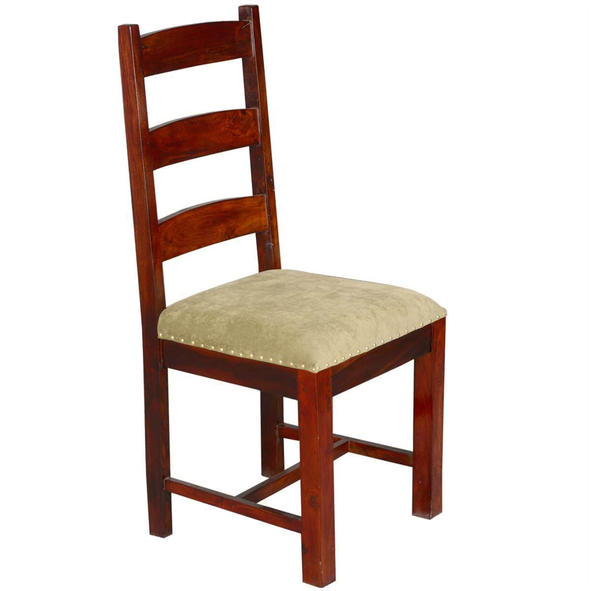 Traditional solid rosewood upholstered ladder back side for Upholstered dining chairs