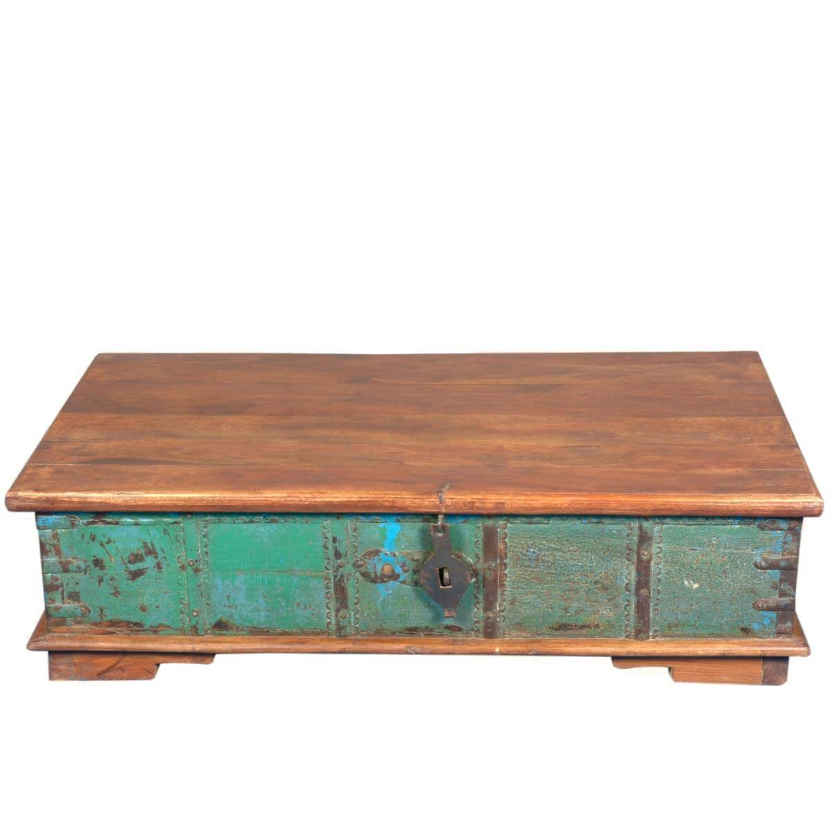 Emerald treasure reclaimed wood coffee table storage chest Coffee table chest with storage