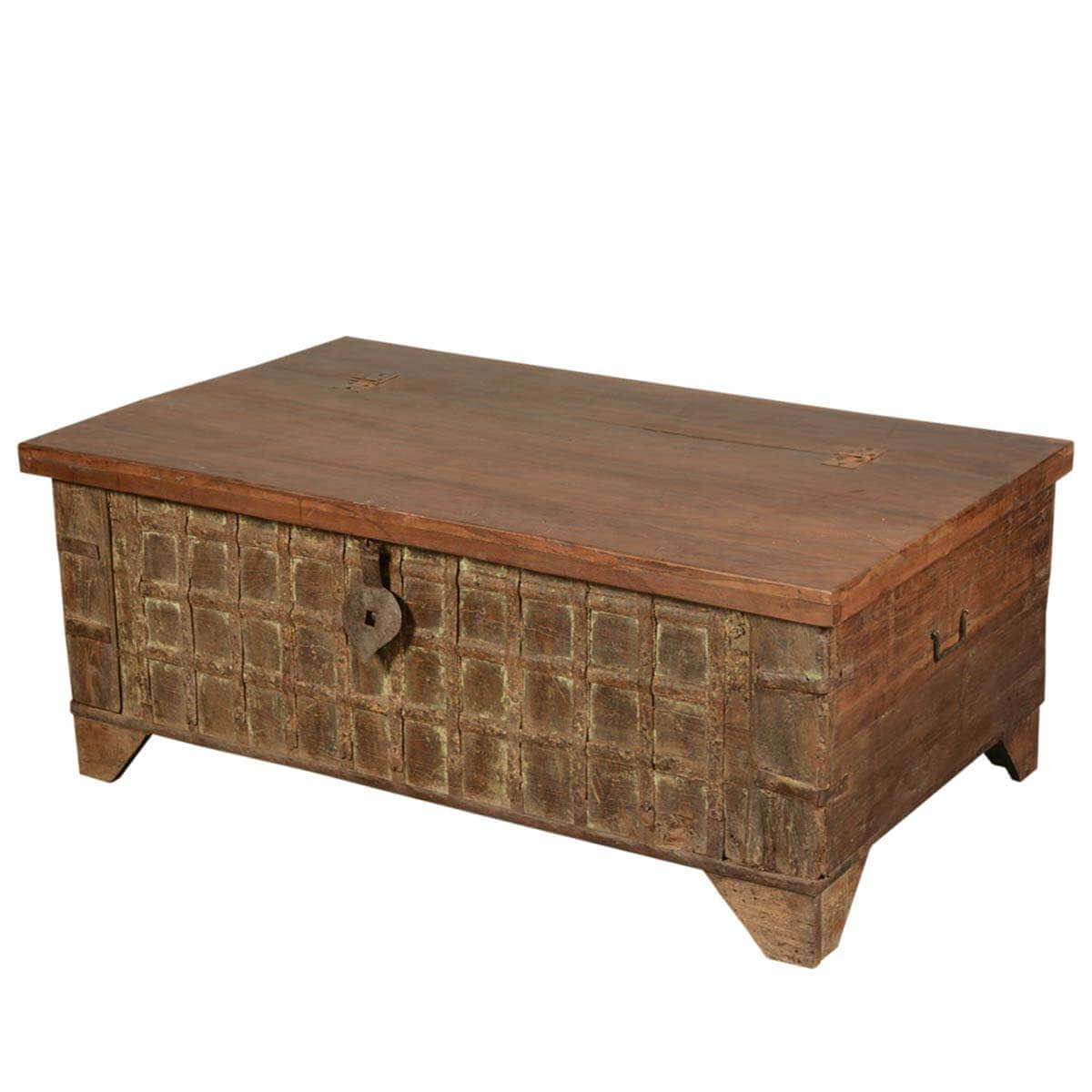 Gothic treasure reclaimed wood coffee table storage box chest Coffee table storage chest