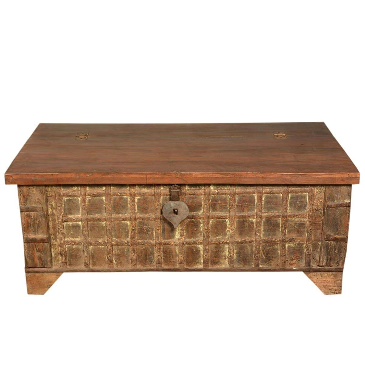 Gothic treasure reclaimed wood coffee table storage box chest Coffee table chest with storage
