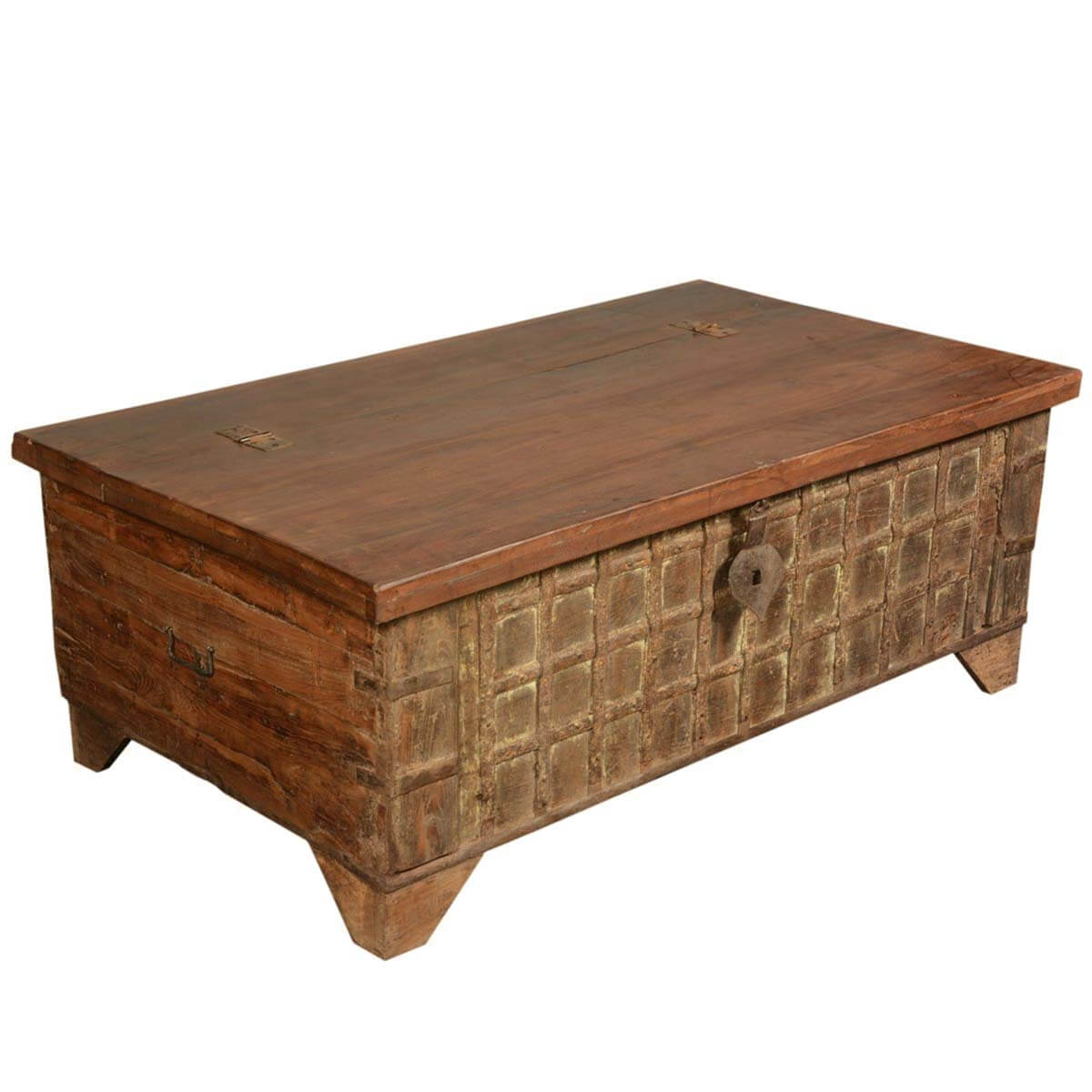 Gothic Treasure Reclaimed Wood Coffee Table Storage Box Chest