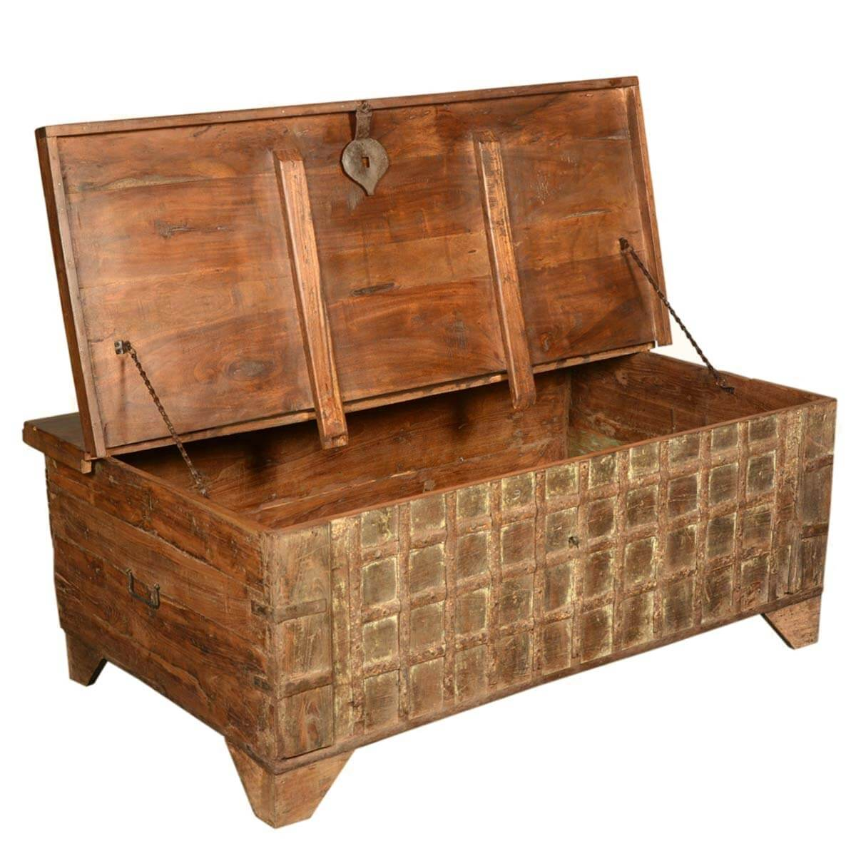 Gothic treasure reclaimed wood coffee table storage box chest for Reclaimed wood coffee table with storage