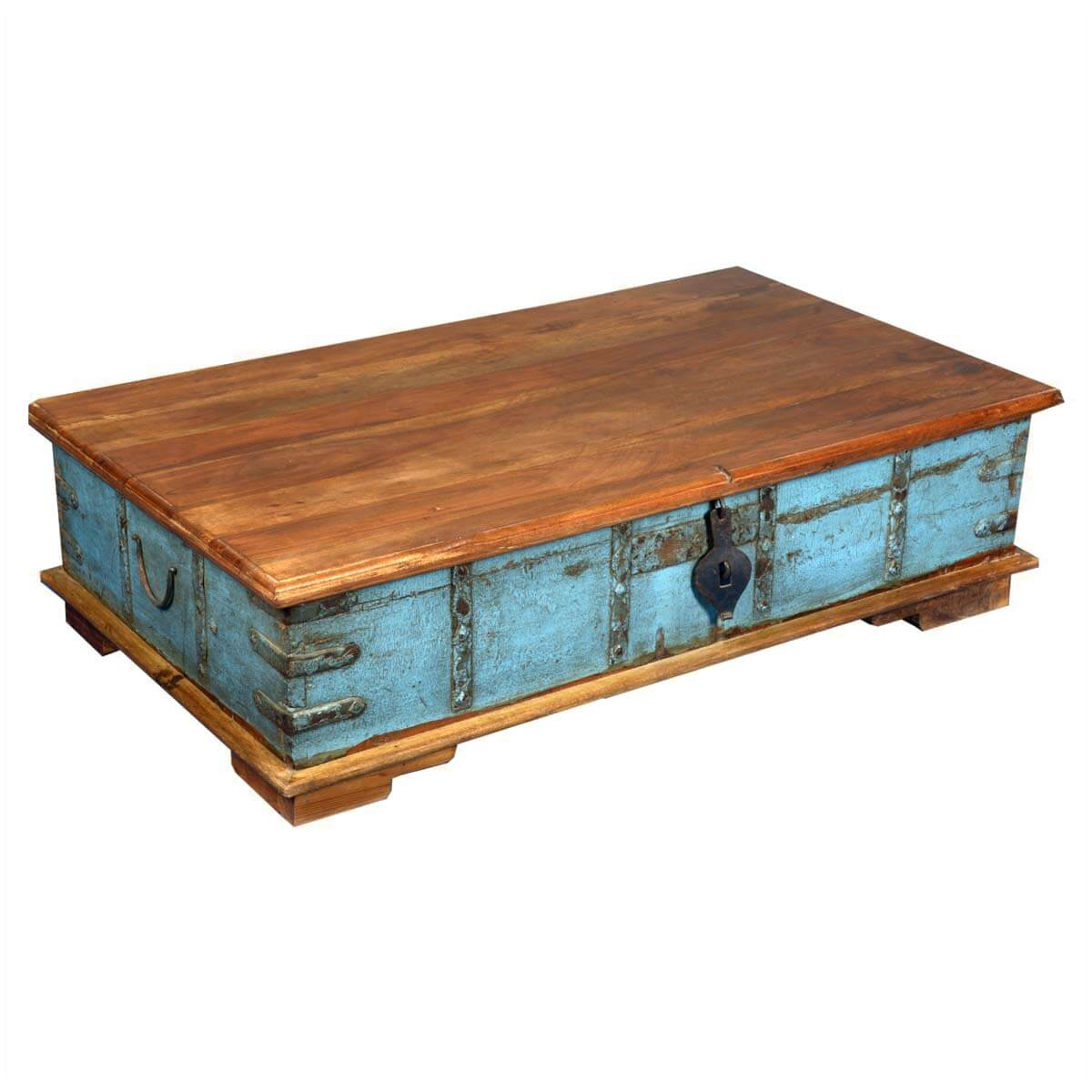 Sky blue reclaimed wood standing coffee table storage chest for Reclaimed wood coffee table with storage