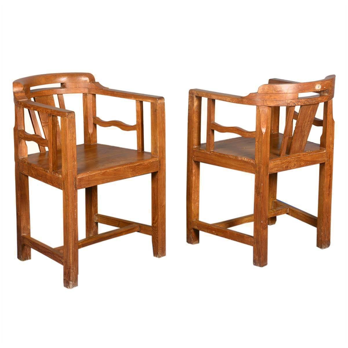Marvelous photograph of  Dining Chairs Contemporary Solid Teak Wood Curved Back Captain's Chair with #441E08 color and 1200x1200 pixels
