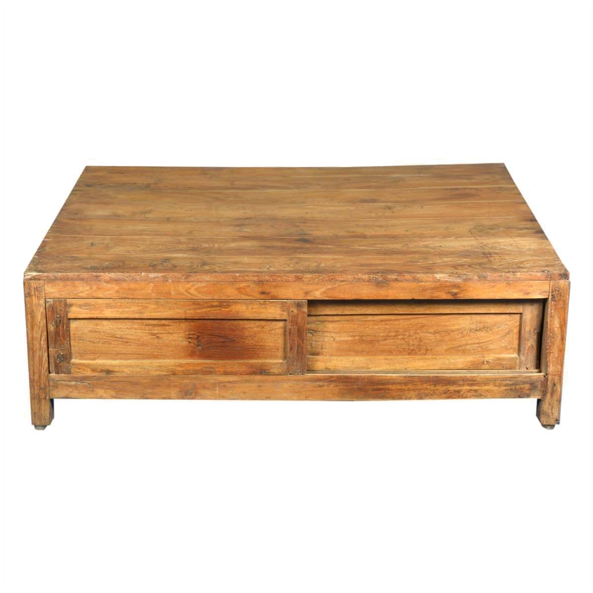 Handmade solid teak wood large coffee table with storage for Large wood coffee table