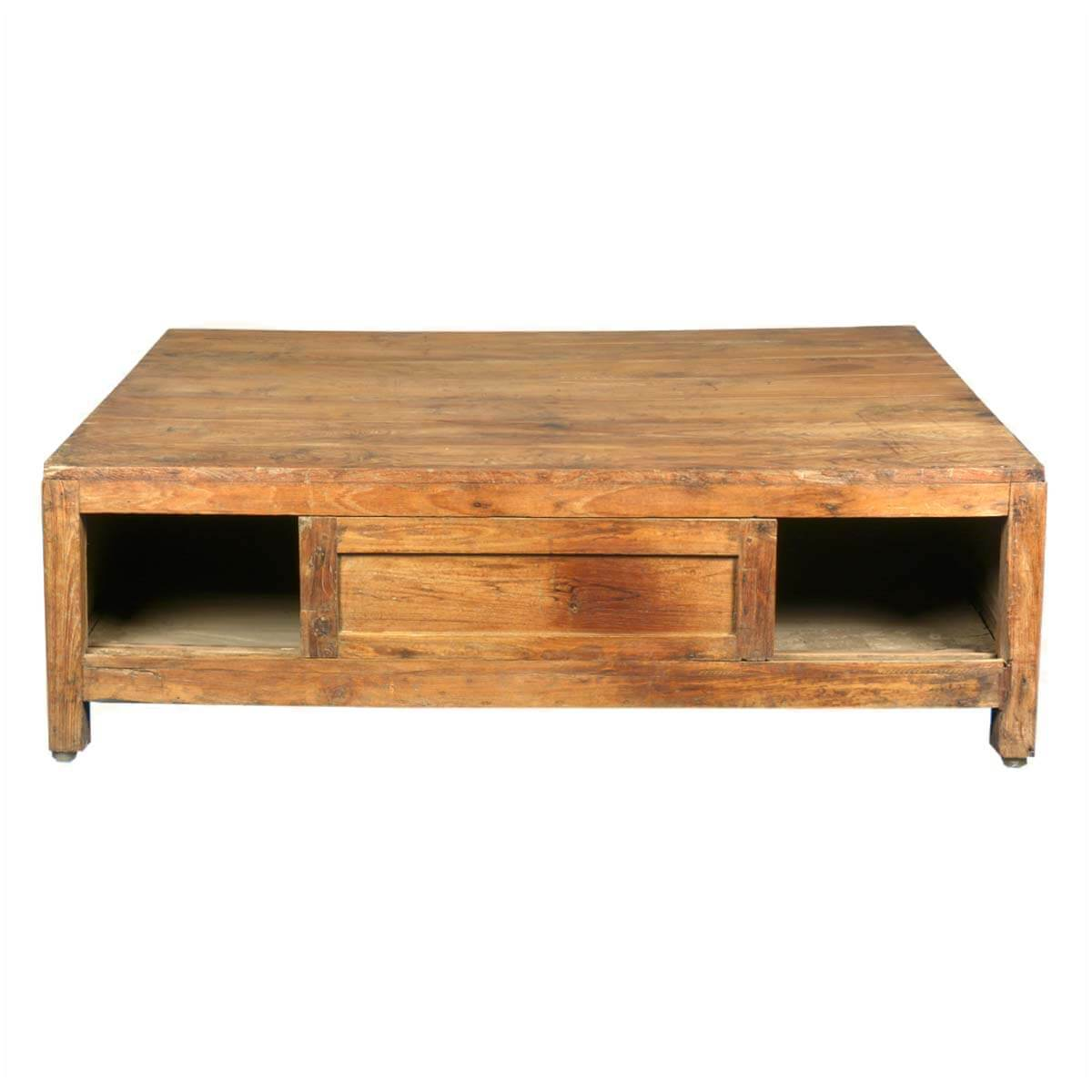 Handmade Solid Teak Wood Large Coffee Table With Storage