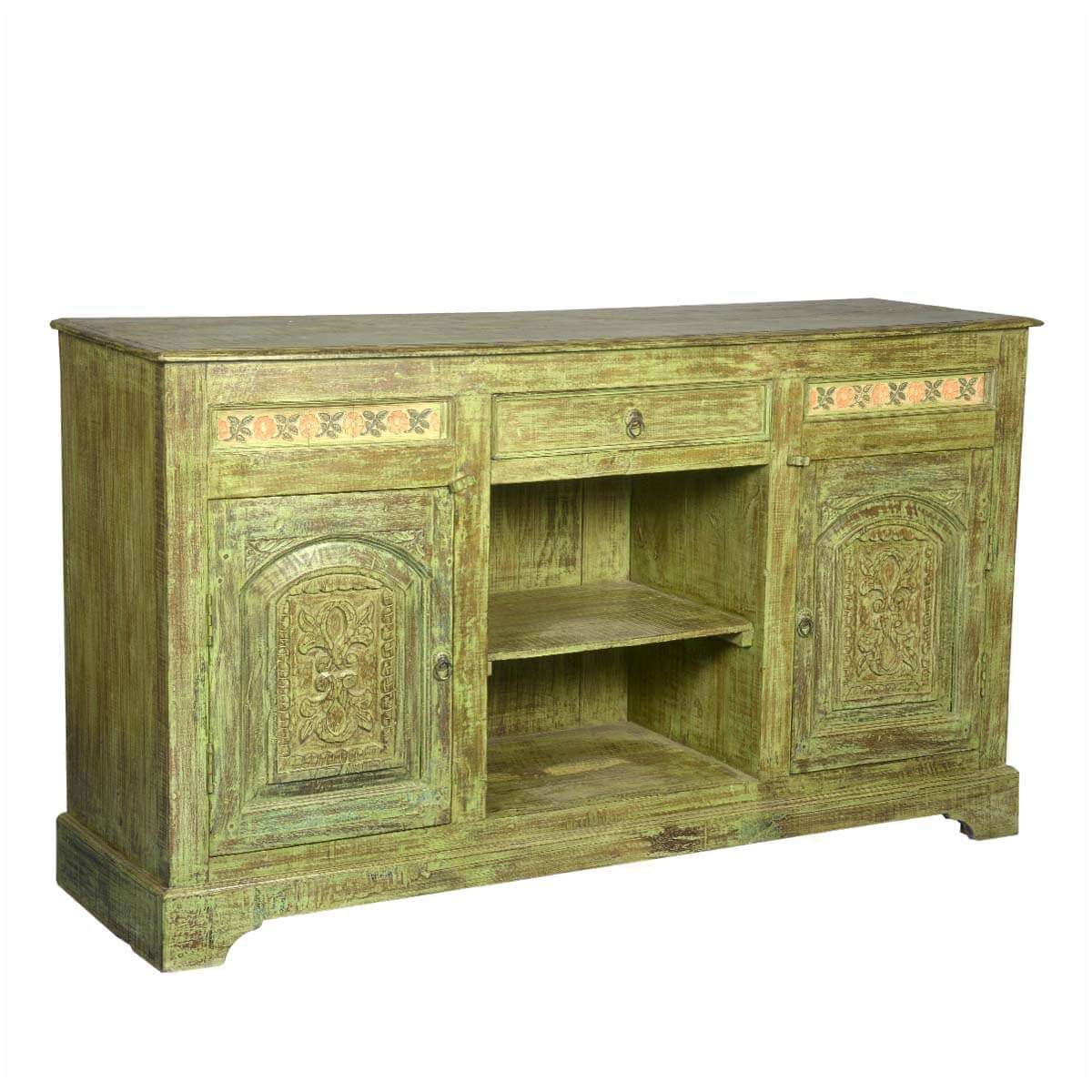 Green Dutch Hand Carved Reclaimed Wood Sideboard Buffet Cabinet