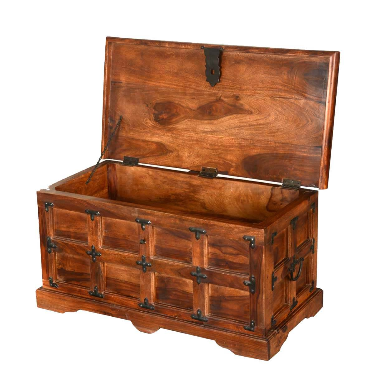 Beaufort solid rosewood with metal accents coffee table storage chest Metal chest coffee table