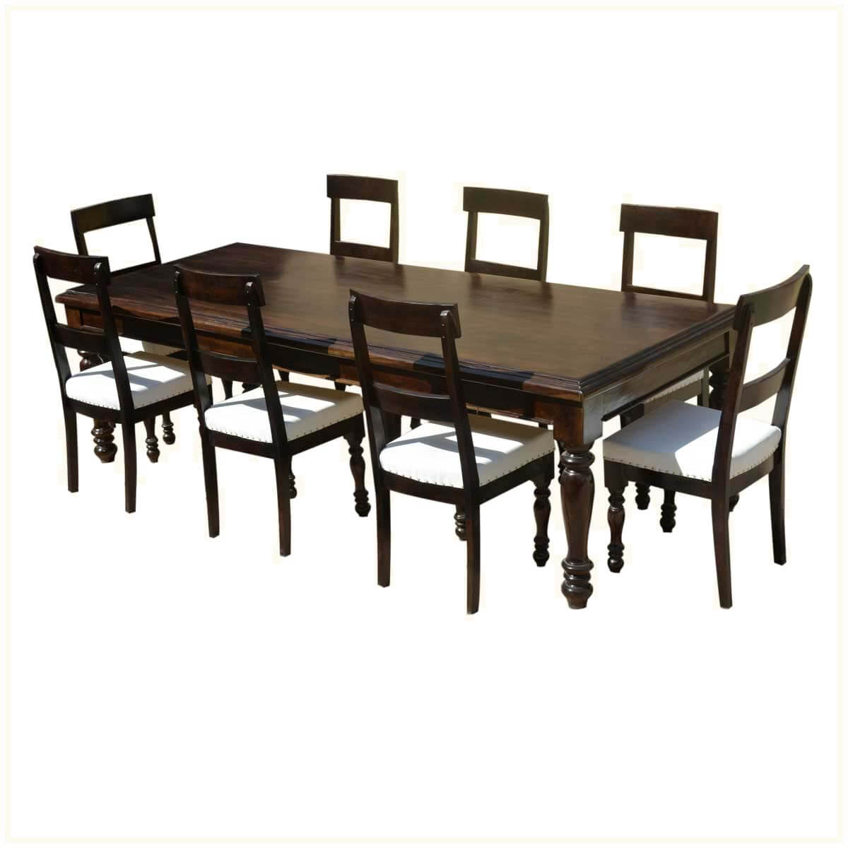 American acacia wood dining table leather upholstered chairs for Wood leather dining chairs