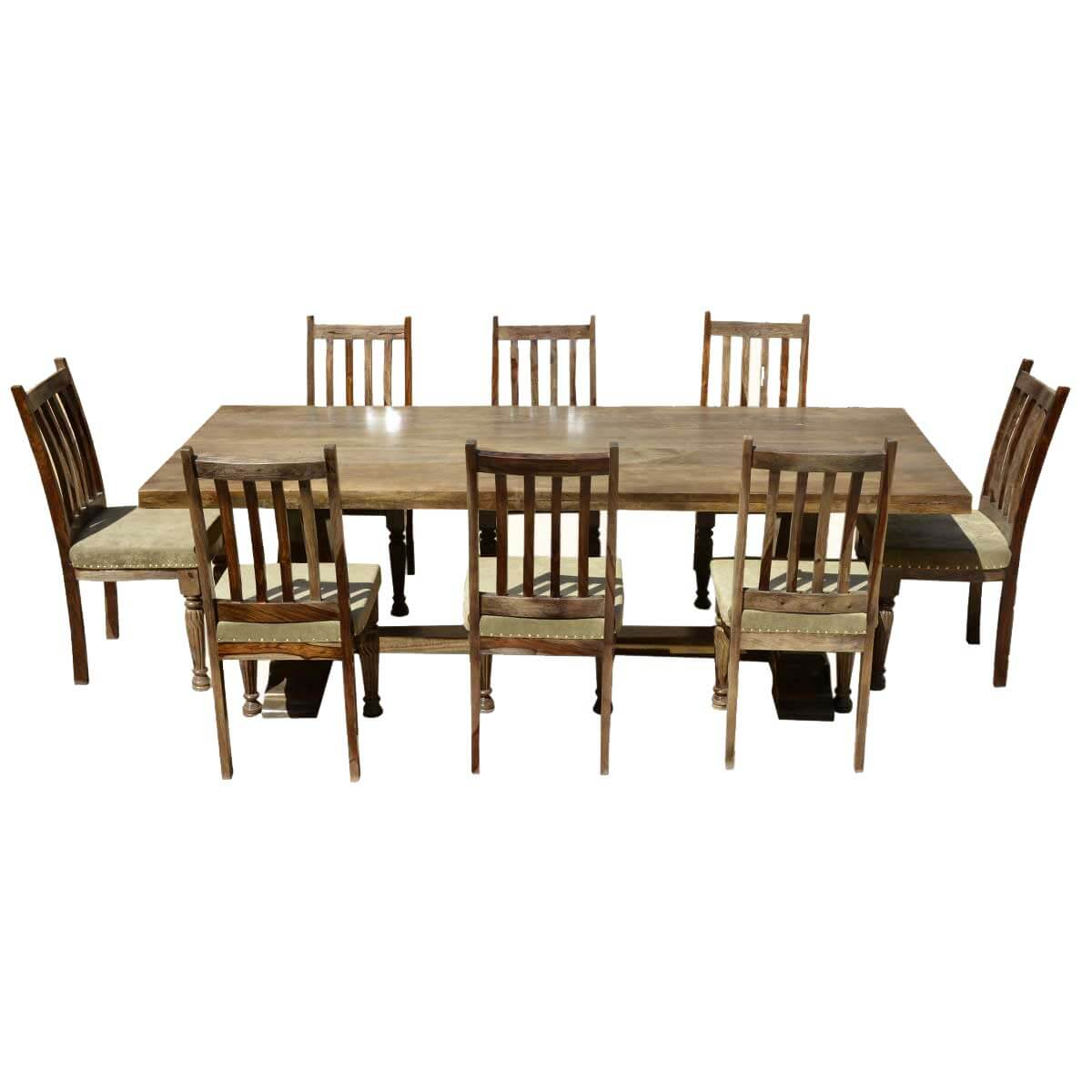 Farmhouse solid wood trestle rustic dining table for Dining room table and bench set