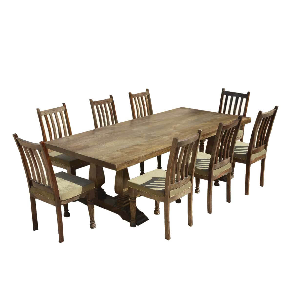 Farmhouse solid wood trestle rustic dining table for Solid wood dining table sets