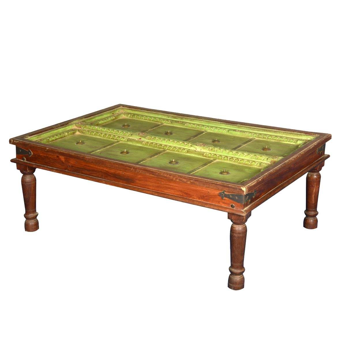 Spring Green Antique Door Solid Wood Coffee Table