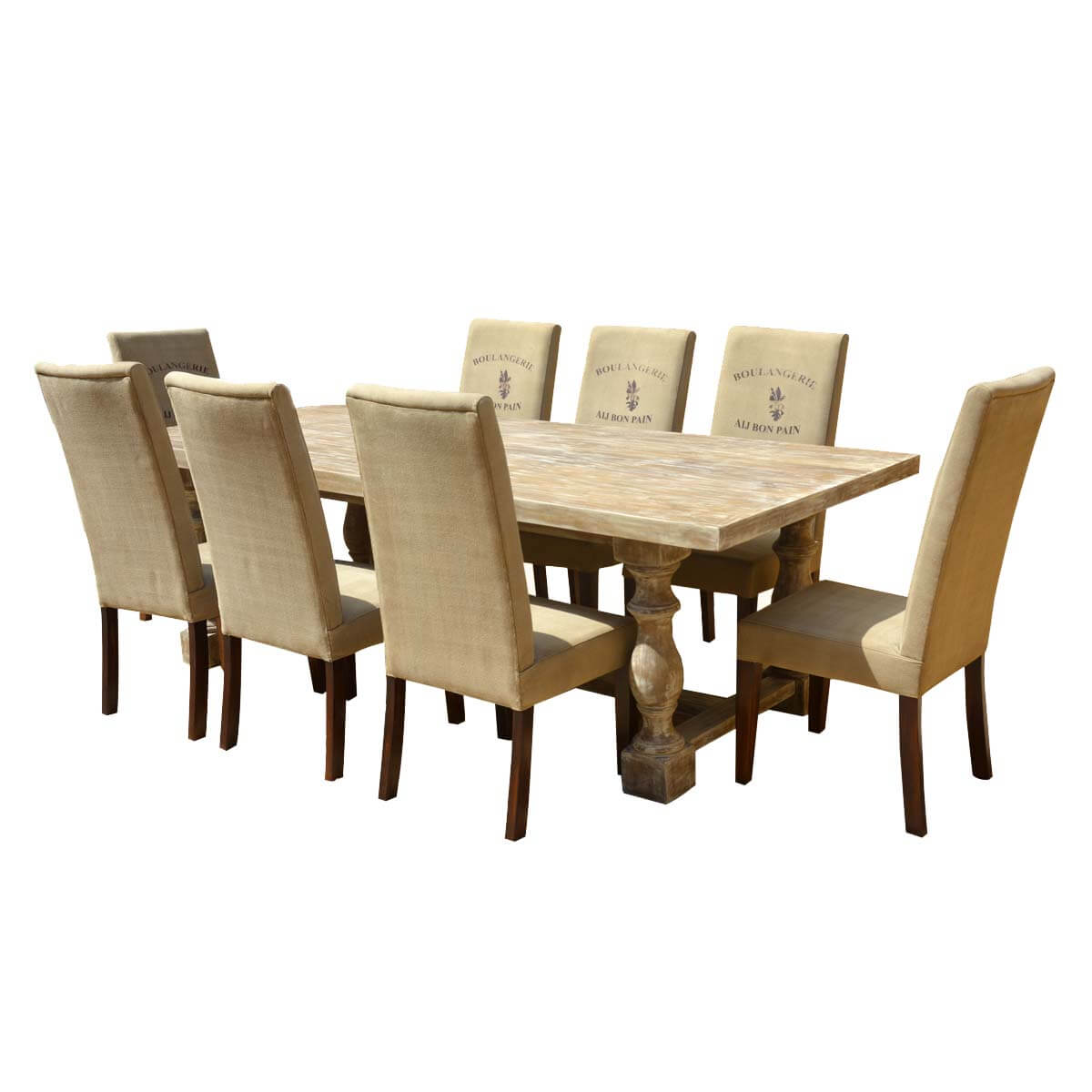 Italian Mango Wood White Dining Table Cafe Logo Fabric Chairs