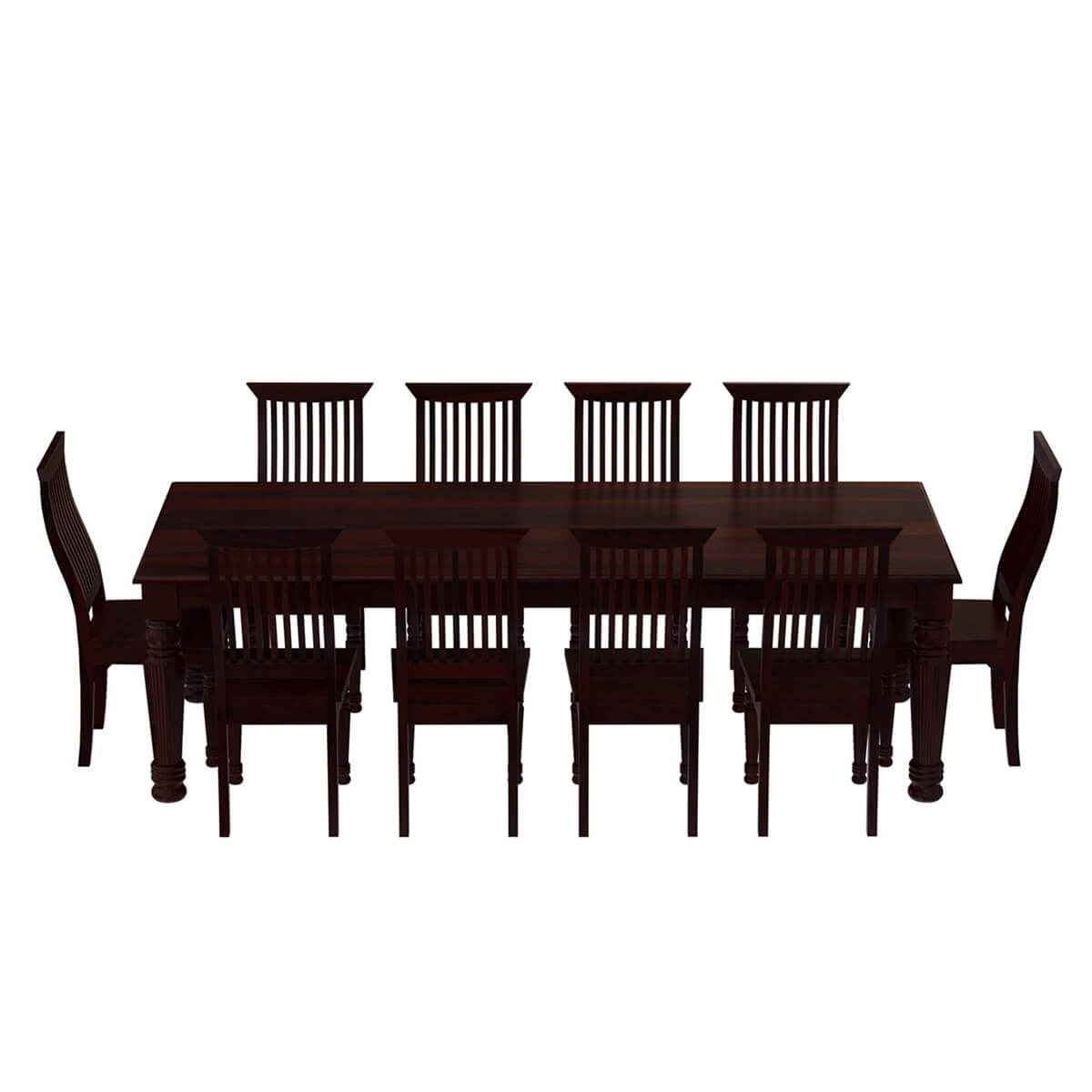 Colonial American Large Rustic Wood Dining Table And 10