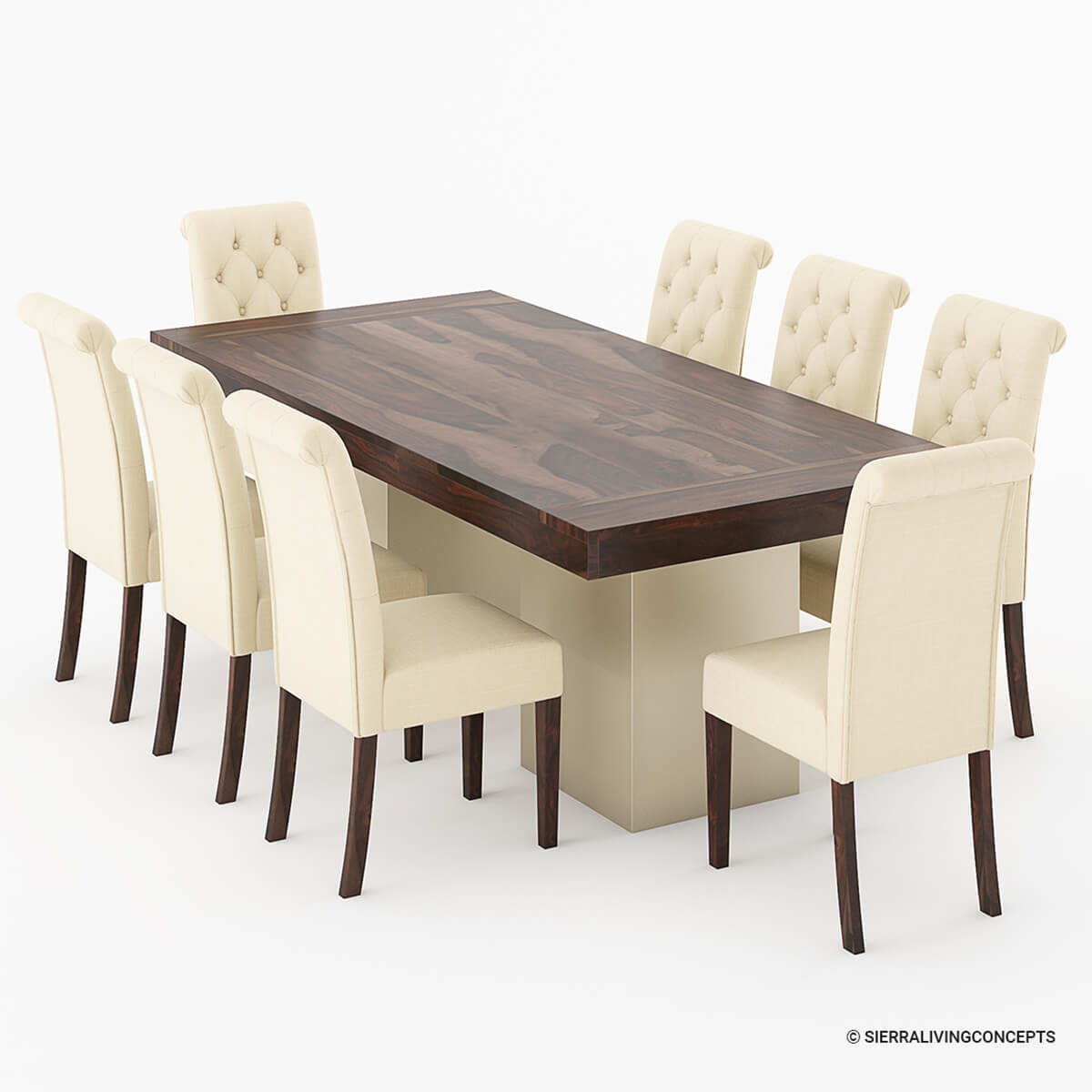 Leather Dining Table: Solid Wood Large Rustic Dining Table With Leather Parson