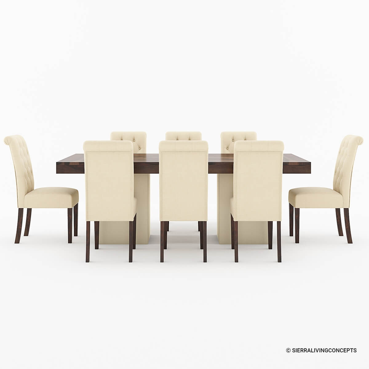 Solid wood large rustic dining table with leather parson for Leather parsons dining chair