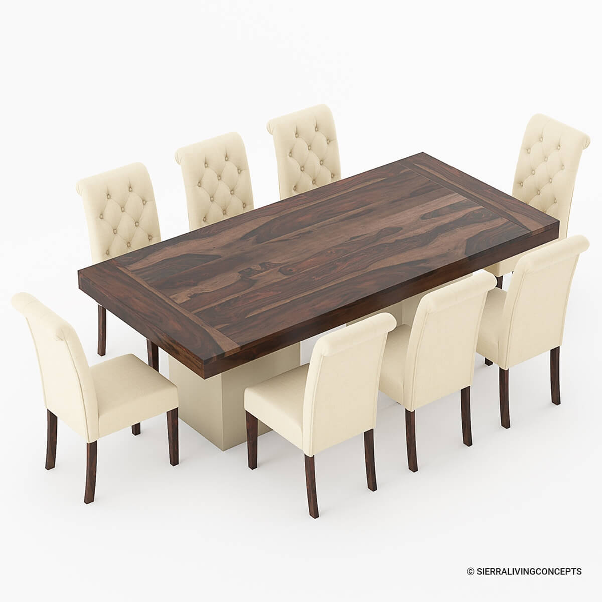 Solid wood large rustic dining table with leather parson for Wooden dining table chairs
