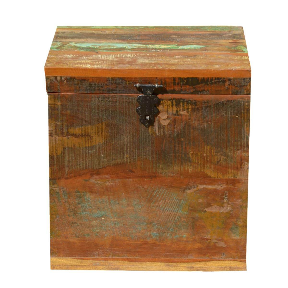 Grinnell Reclaimed Wood Rustic End Table Storage Cube Chest
