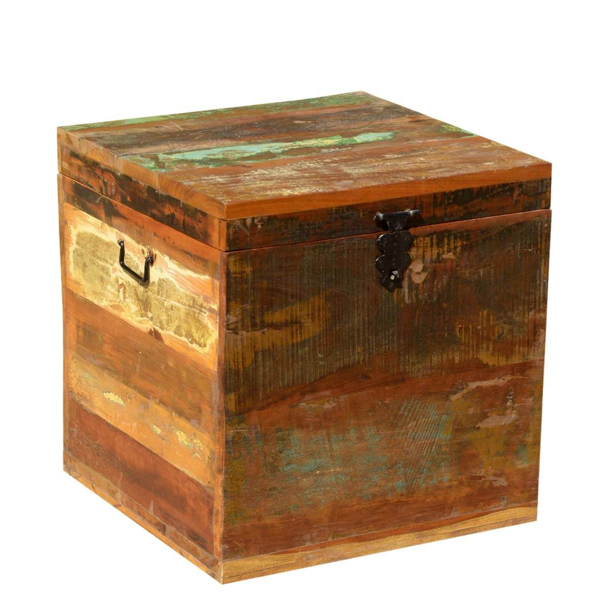 grinnell reclaimed wood rustic end table storage cube chest. Black Bedroom Furniture Sets. Home Design Ideas