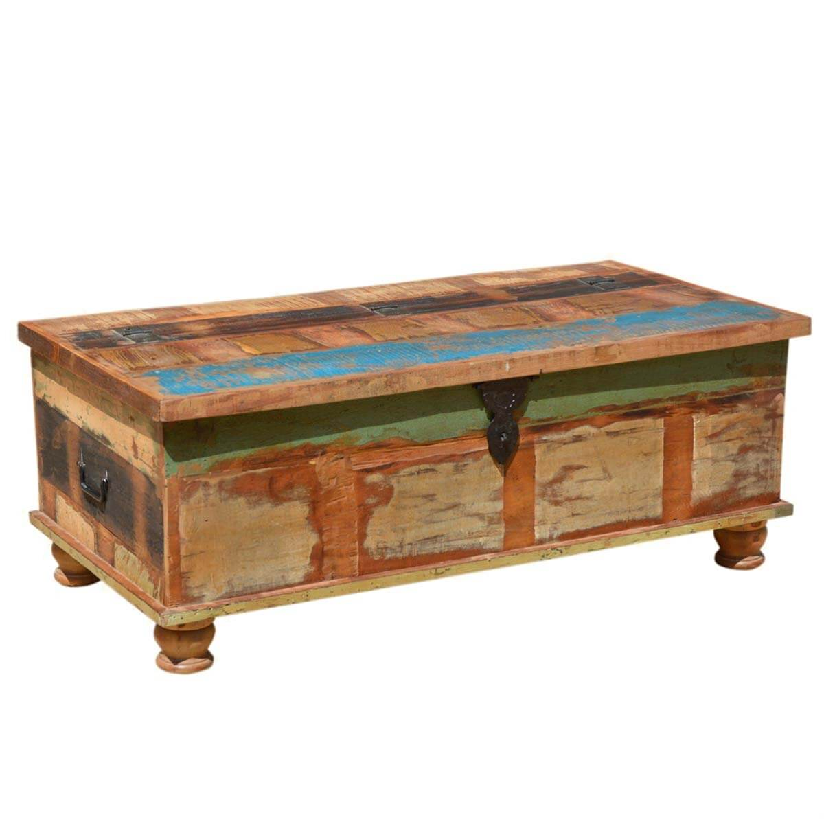 Grinnell rustic reclaimed wood coffee table storage trunk for Reclaimed coffee table