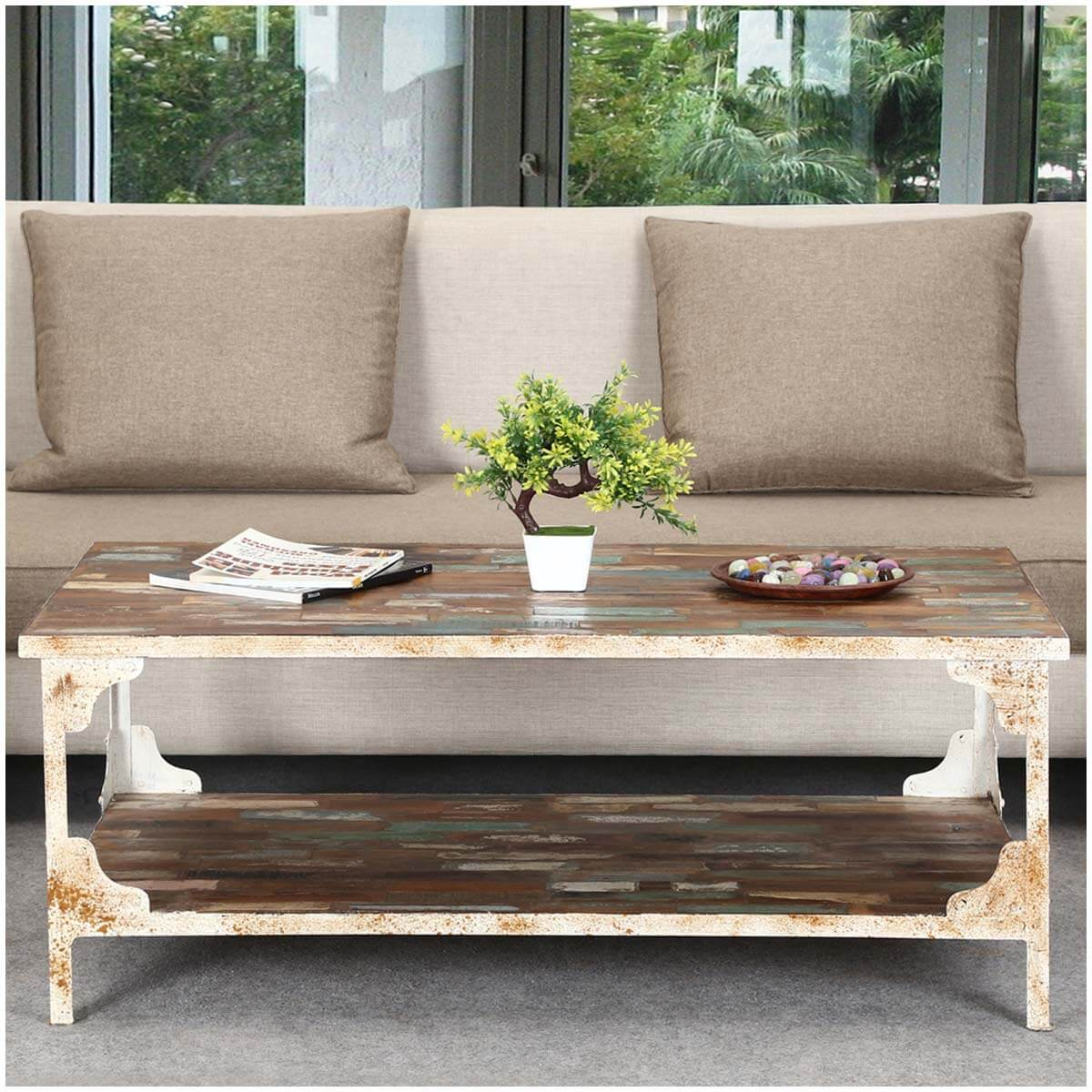 Reclaimed Wood And Metal Coffee Table: Industrial Reclaimed Wood & Iron 2 Tier Coffee Table