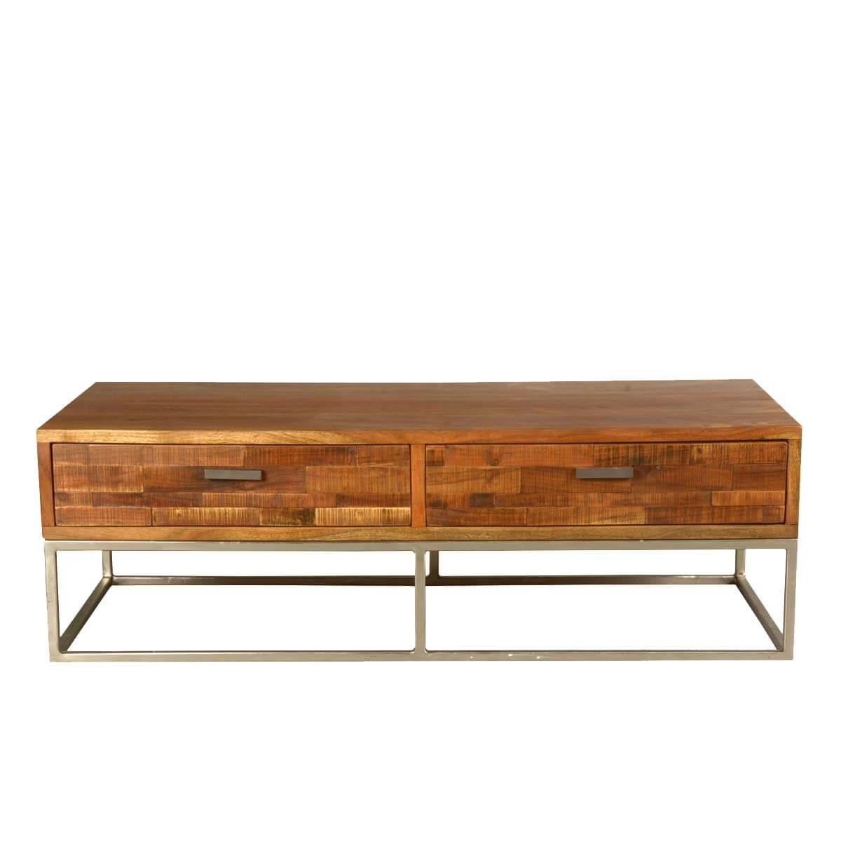 Modern Rustic Solid Wood Iron 4 Drawer Industrial Coffee Table