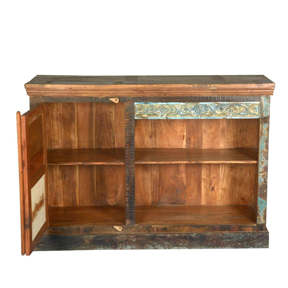 Drakensberg distressed old reclaimed wood media console tv