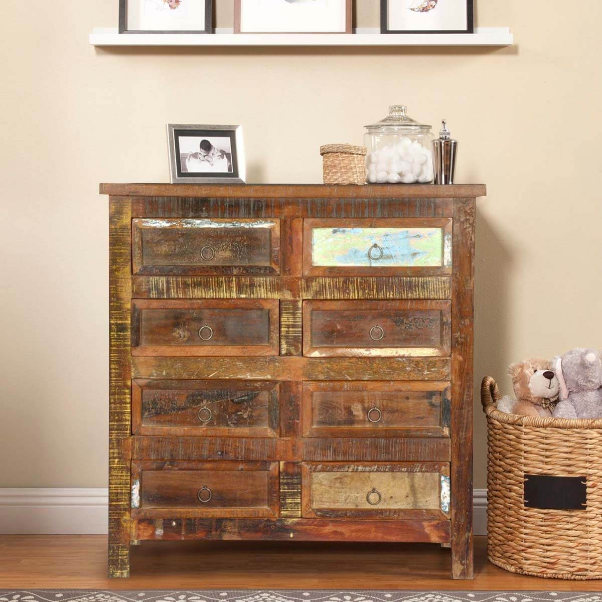 rustic reclaimed wood furniture 8 drawer bedroom dresser