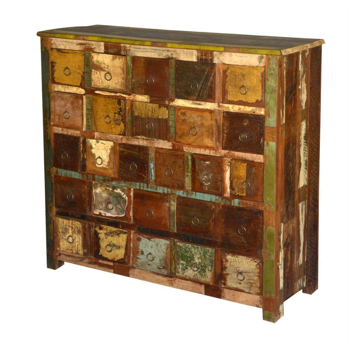 Wood Storage Cabinets: Rustic Reclaimed Wood Apothecary Storage Cabinet With 26