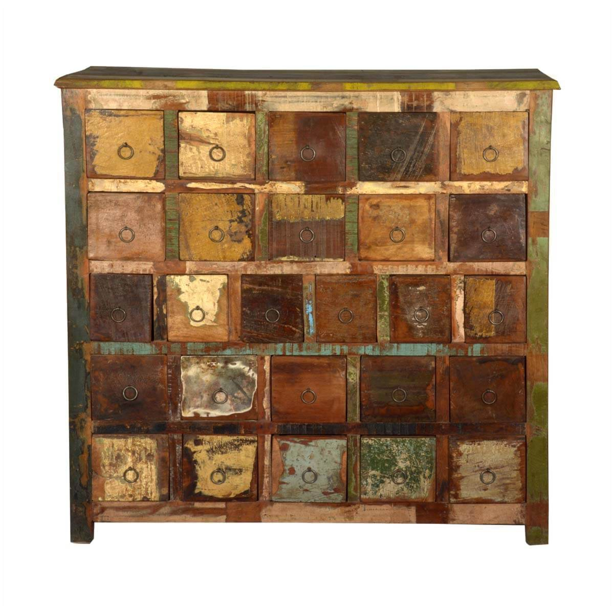 Rustic Reclaimed Wood Apothecary Storage Cabinet With 26