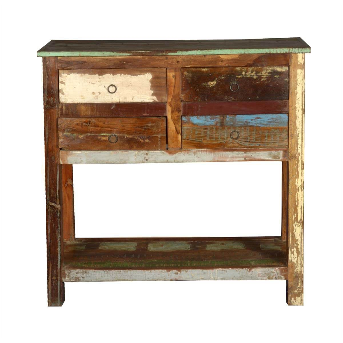 Marvelous photograph of  & Hall Tables 2 Tier Reclaimed Wood Console Table with 4 Drawers with #A17F2A color and 1200x1200 pixels