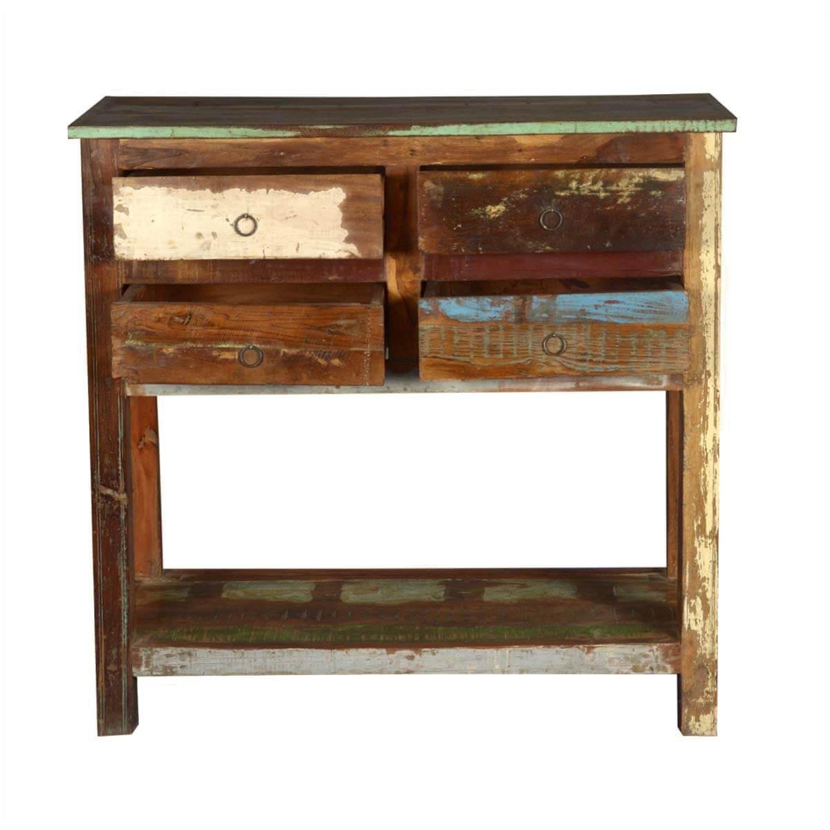 Marvelous photograph of  & Hall Tables 2 Tier Reclaimed Wood Console Table with 4 Drawers with #A68125 color and 1200x1200 pixels