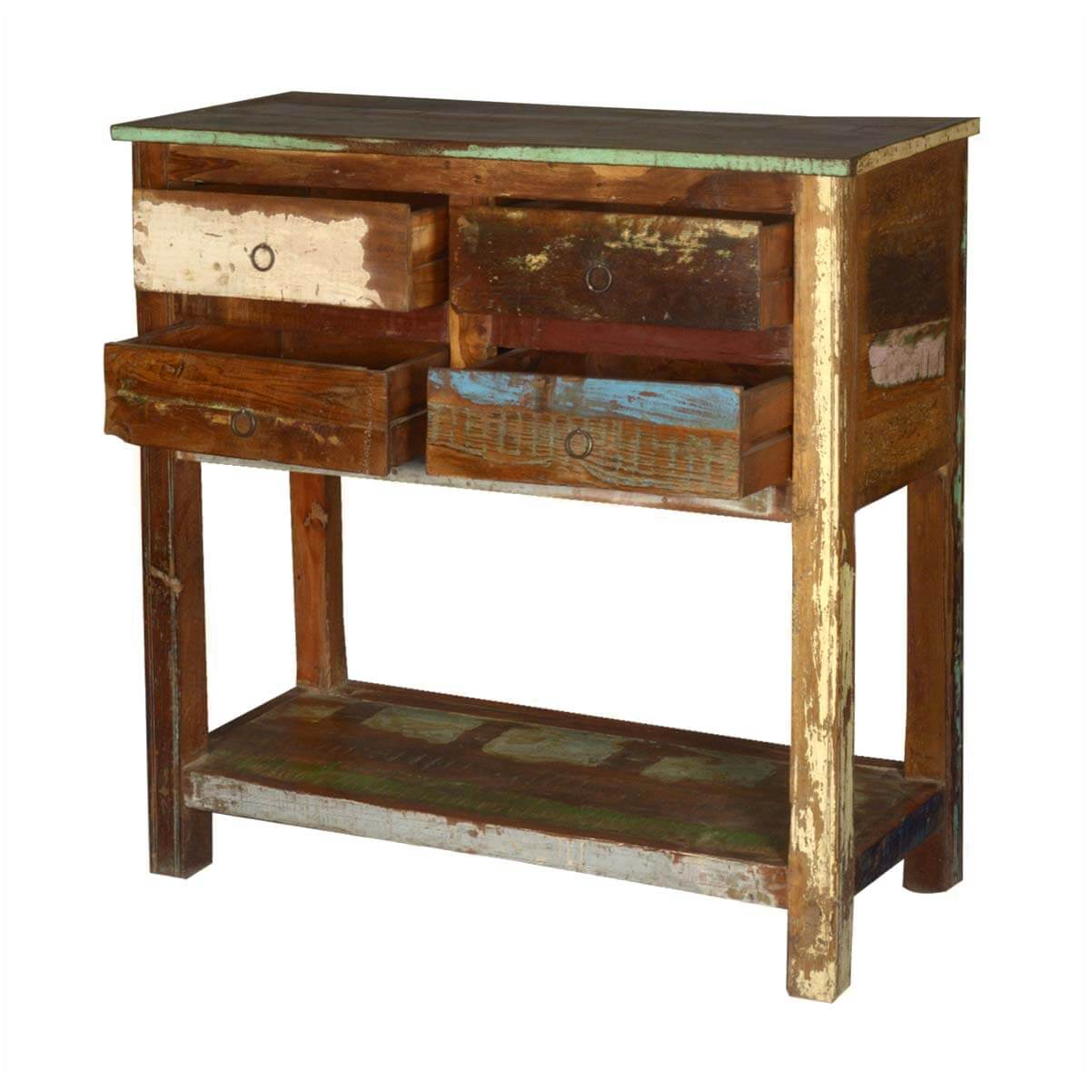Console Table Woodworking ~ Tier reclaimed wood console table with drawers