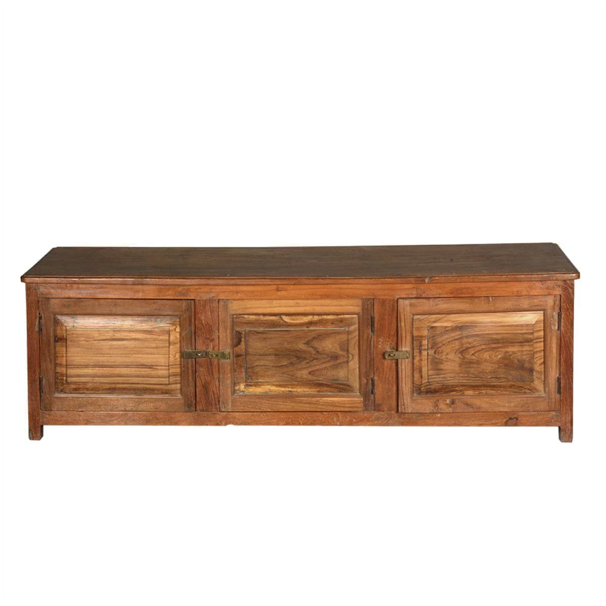 Rustic Teak Wood Media Console Tv Stand With 3 Doors