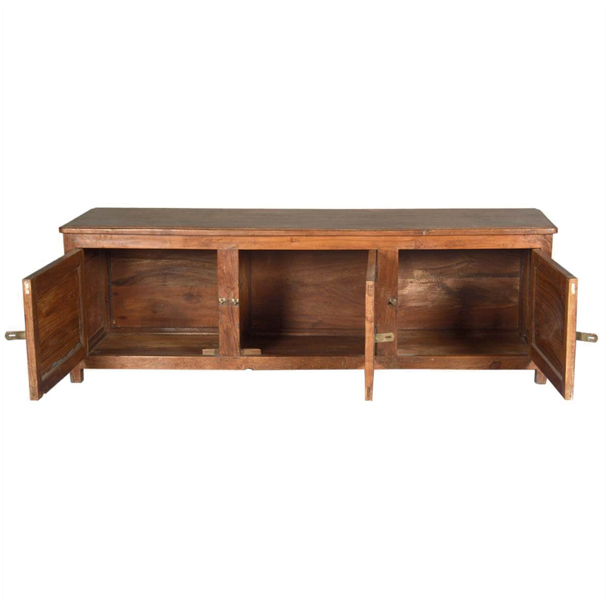 Rustic teak wood media console tv stand with doors
