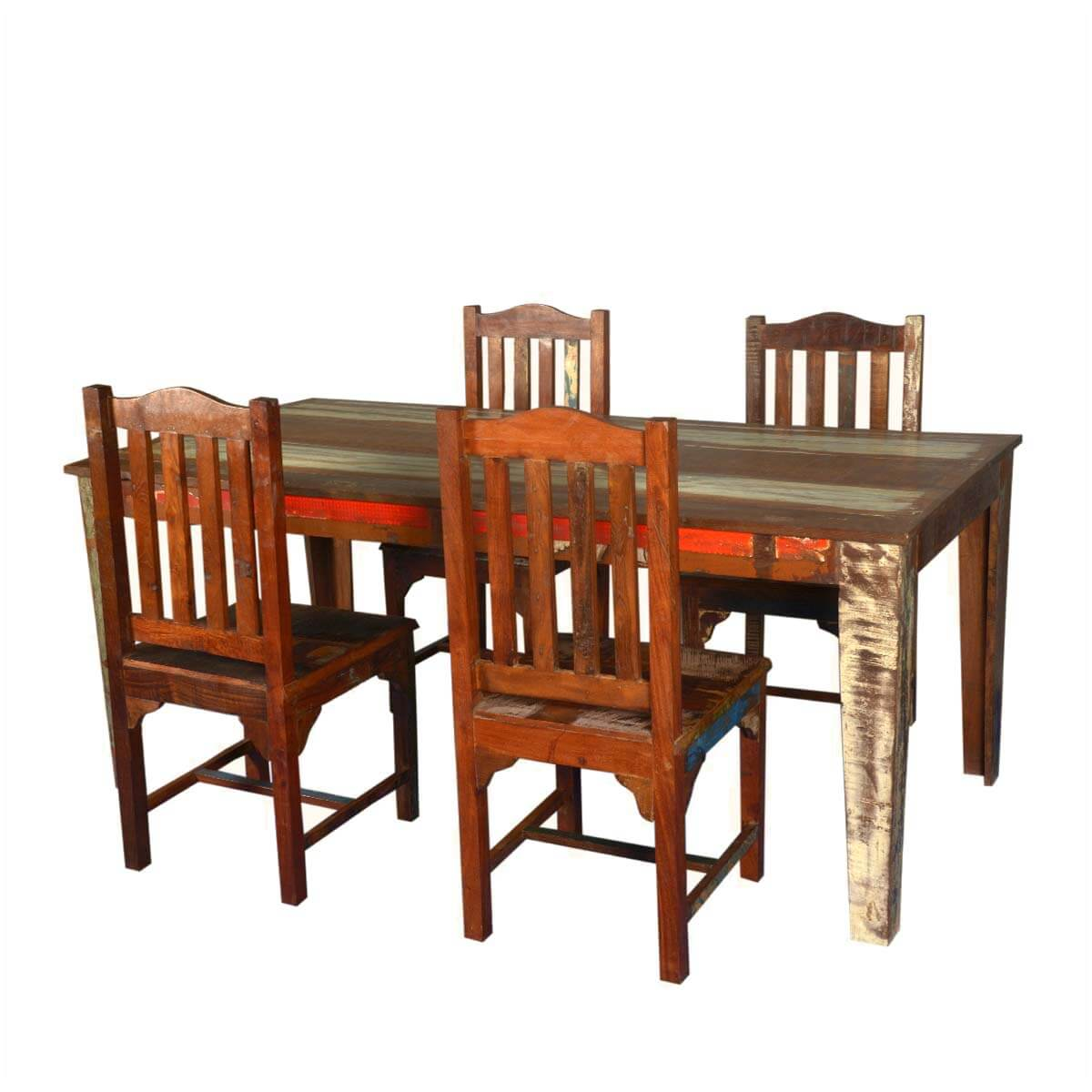 Reclaimed Wood Dining Chairs ~ Reclaimed wood dining table with mission chairs