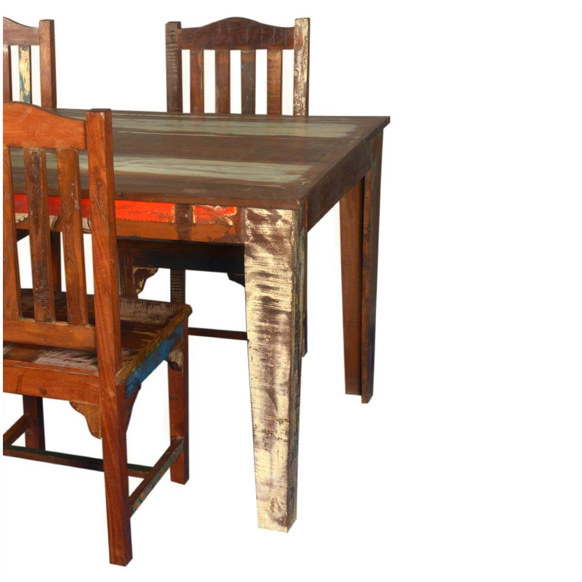 Reclaimed Wood Dining Table With Mission Chairs