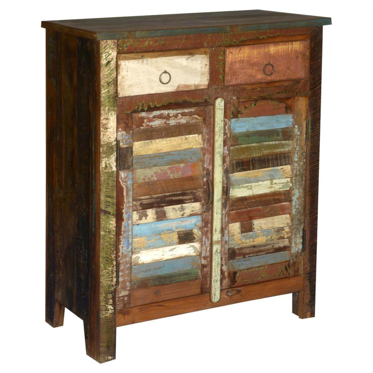 Wonderful image of Multicolored Reclaimed Wood Storage Cabinet with 2 Drawers with #9C7D2F color and 1200x1200 pixels
