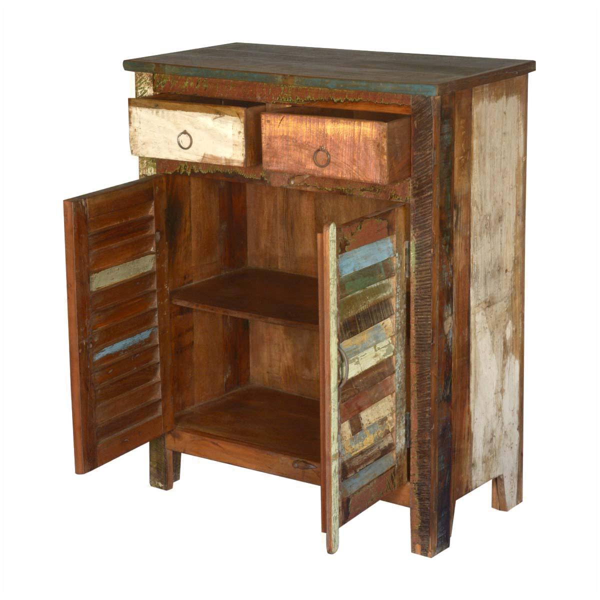 Wood Storage Cabinets: Multicolored Reclaimed Wood Storage Cabinet With 2 Drawers