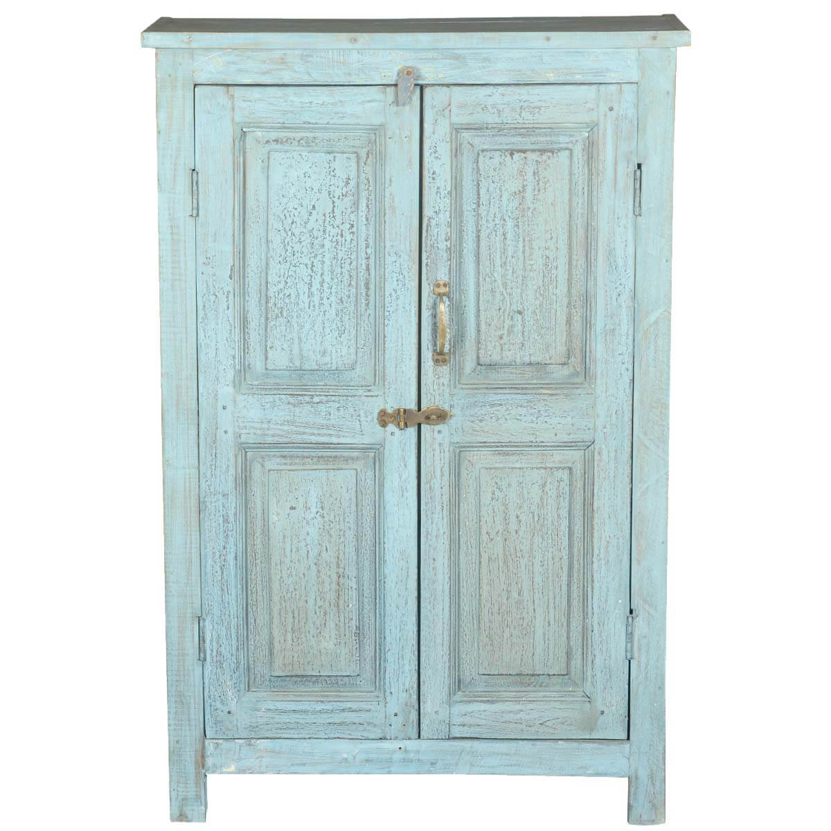 Distress Cabinets: Distressed Blue 2 Door Reclaimed Wood Storage Cabinet