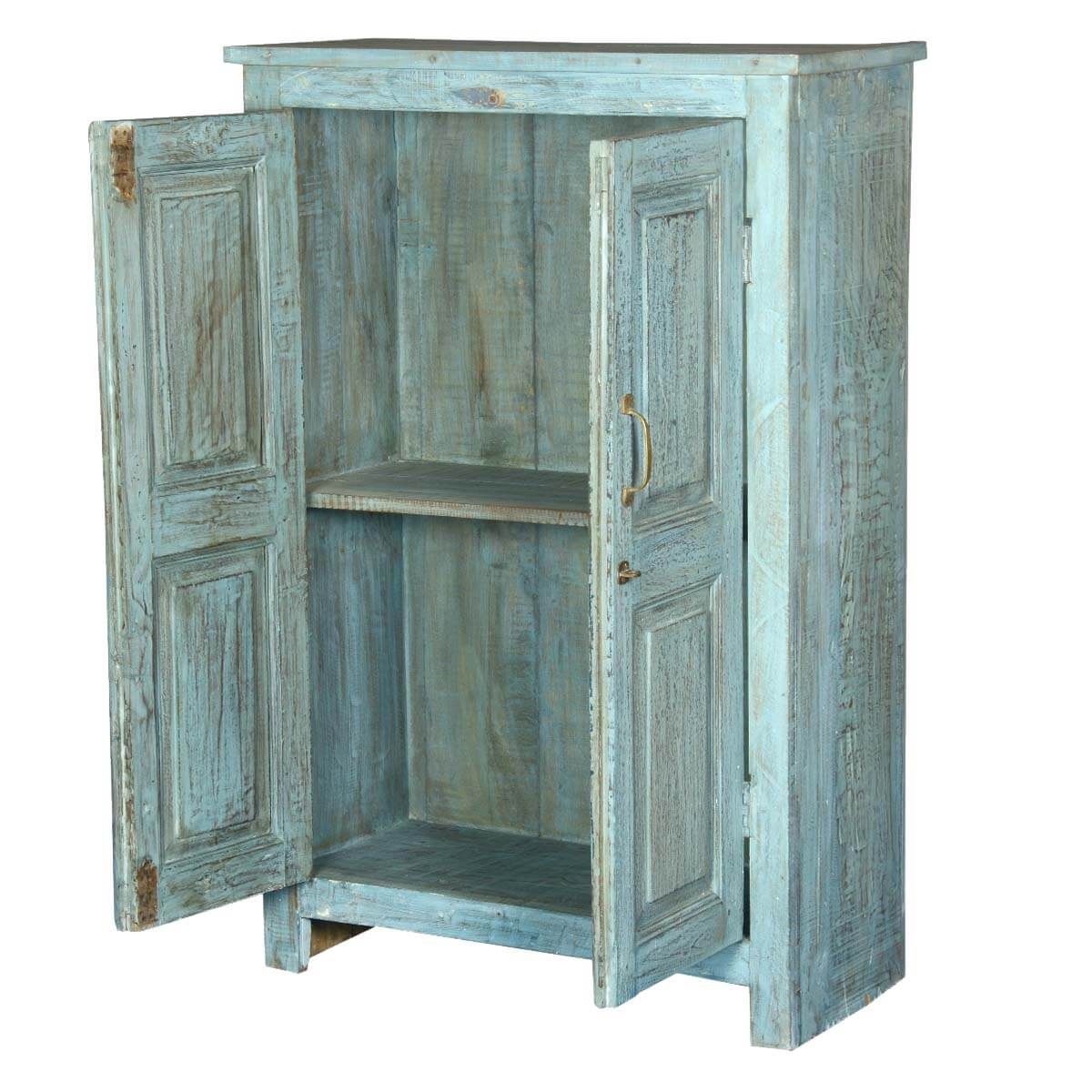 Wooden Storage Cabinets ~ Distressed blue door reclaimed wood storage cabinet