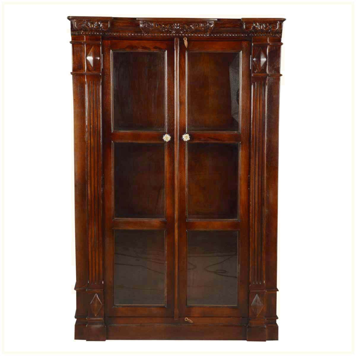Amazing photo of  Bookcase Langley Exceptional Traditional Wooden Glass Door Armoire with #652F17 color and 1200x1200 pixels