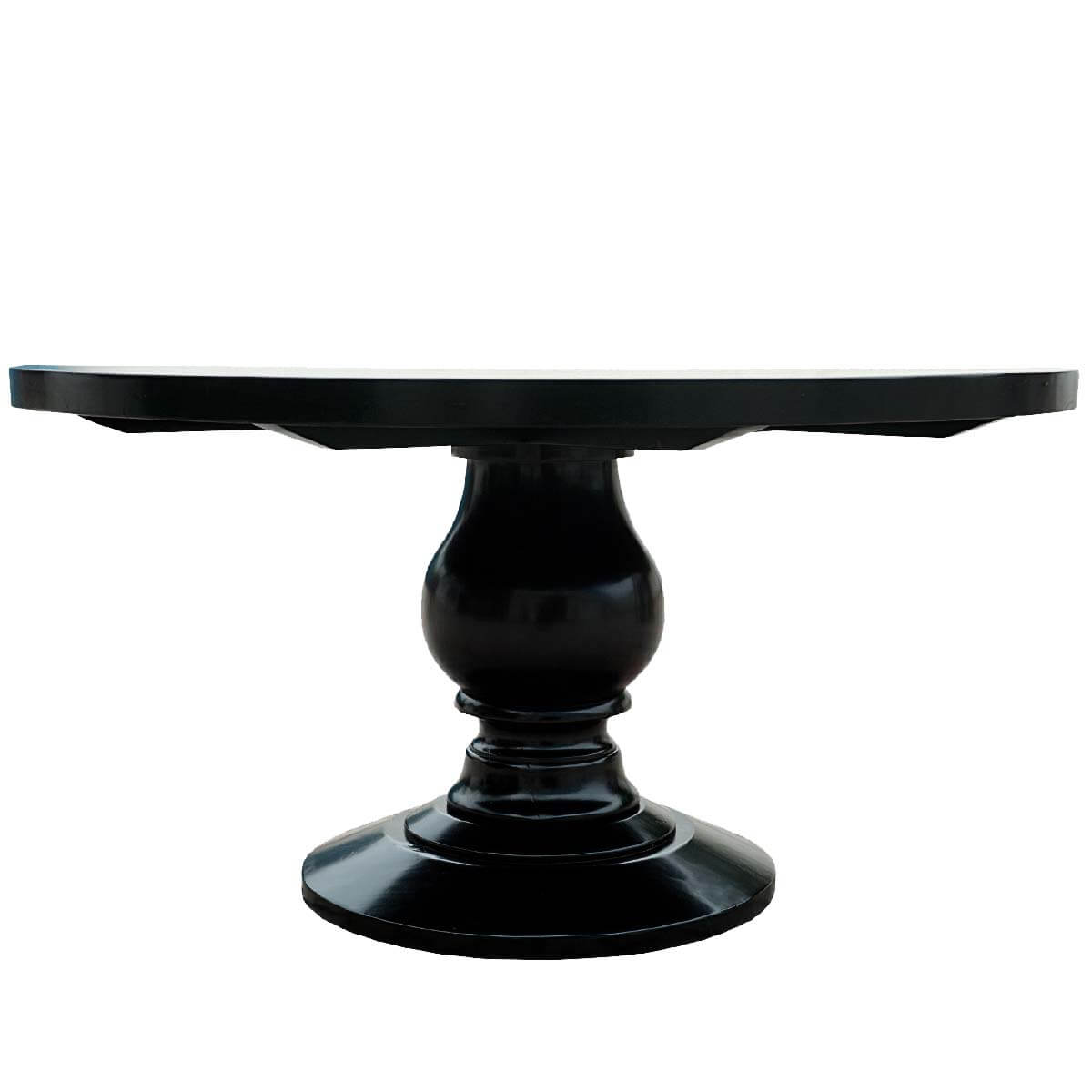 Sutton black baluster pedestal traditional wood round dining table - Pedestal kitchen tables ...