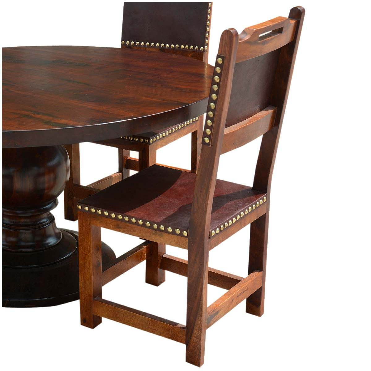 Round Table Sets: Santa Ana Round Kitchen Dining Table Set With Leather Back