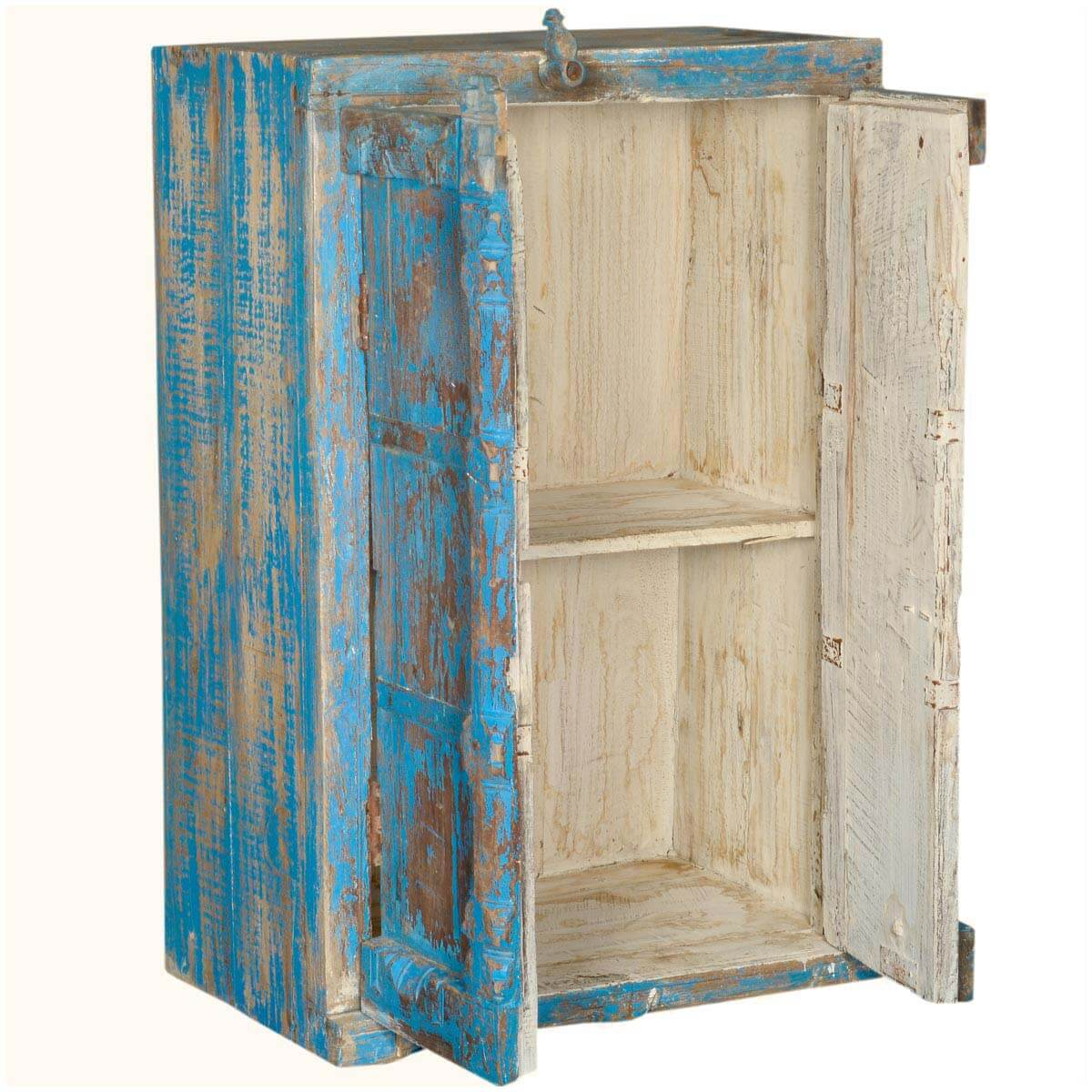 Palisade Distressed Gothic Blue Reclaimed Wood Kitchen Storage Cabinet