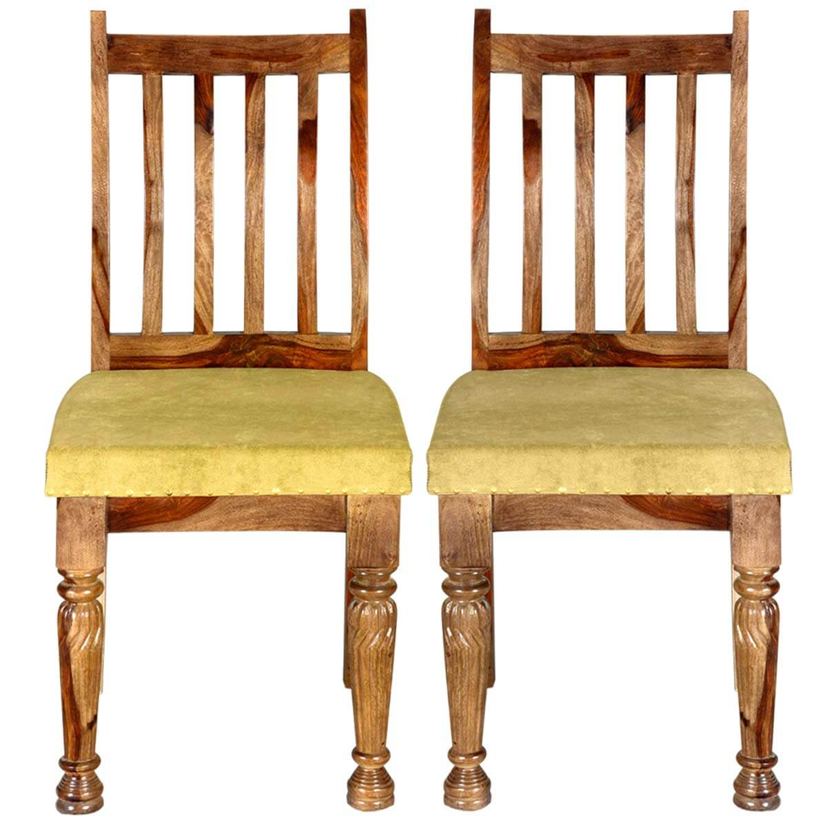 Dallas Ranch Indian Rosewood Upholstered School Back Chair Set
