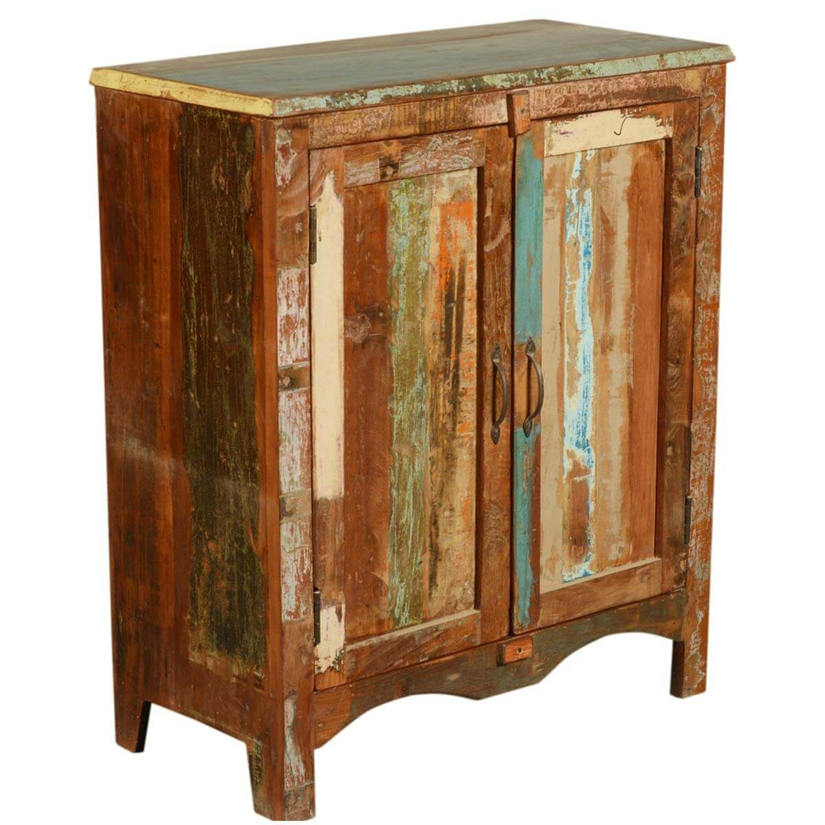 Reclaimed Wood Cabinets ~ Arcadia paint patches rustic reclaimed wood floor cabinet
