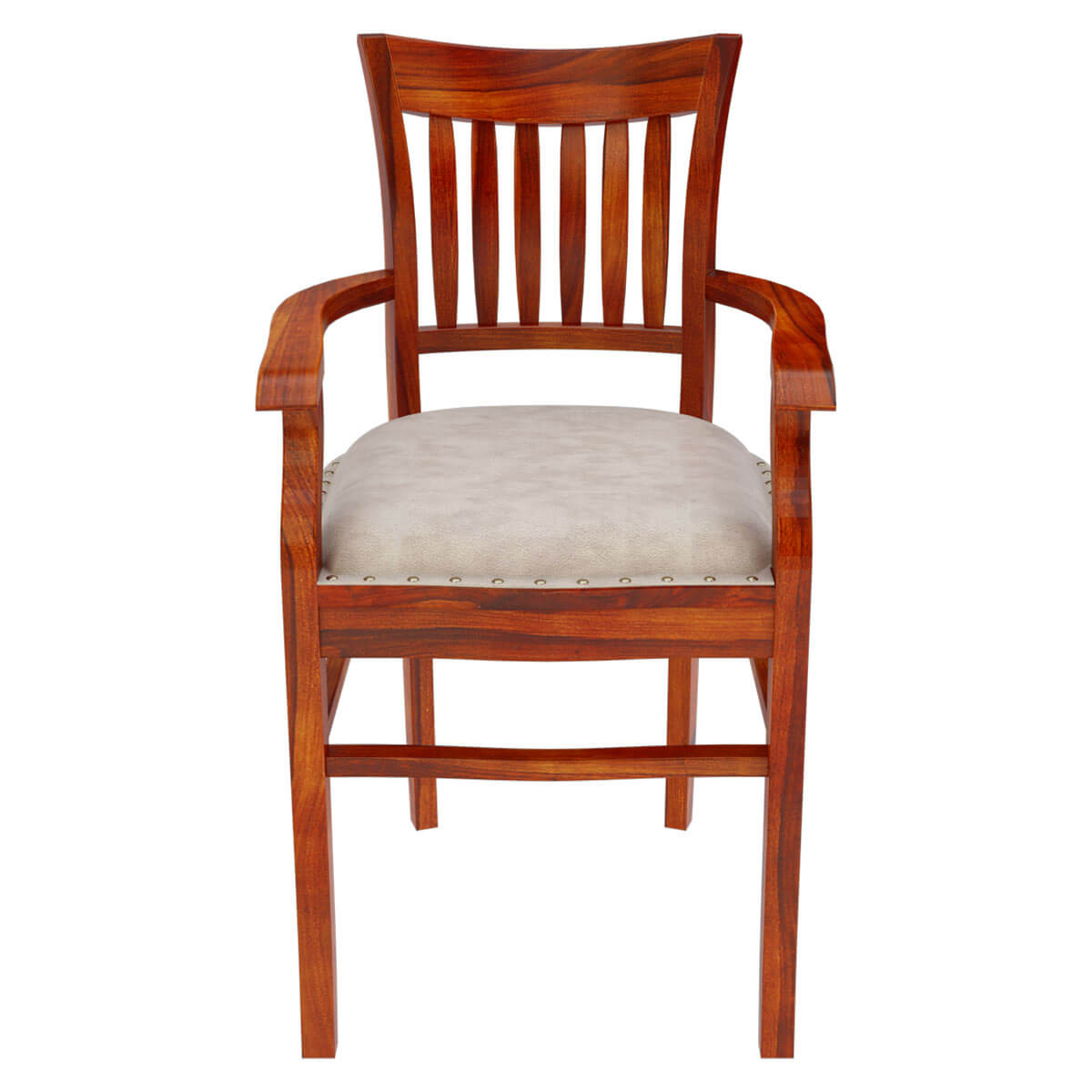 Solid wood arm chair leather cushion dining furniture for Wood dining chairs with arms