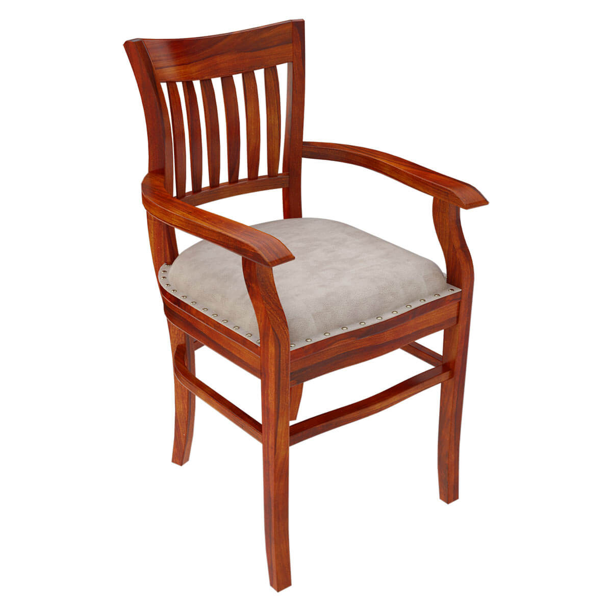 Wood Dining Chairs With Arms ~ Solid wood arm chair leather cushion dining furniture