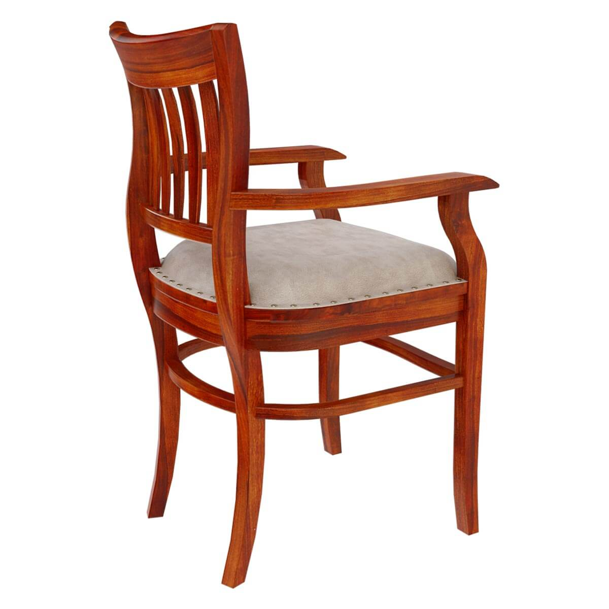 Dining Chairs Solid Wood Arm Chair Leather Cushion Dining Furniture. Full resolution‎  snapshot, nominally Width 1200 Height 1200 pixels, snapshot with #B05117.